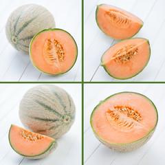 Cantaloupe melon, collage