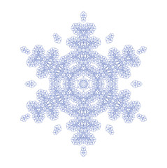 Blue abstract snowflake on white