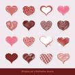 Set of stickers Valentine hearts