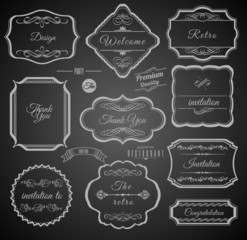 Vintage Calligraphic Frames with Design Elements