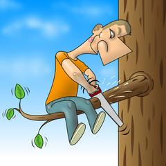 Man sawed branch