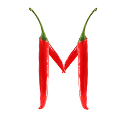 Font made of hot red chili pepper isolated on white - letter M