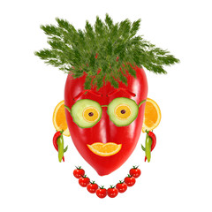Smiling woman portrait made of vegetables and fruits