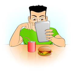 Man with gadget in cafe