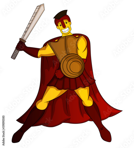 spartan warrior with sword and shield