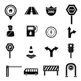 transportation icon set, traffic signals set