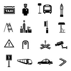 traffic icons, metropolis set