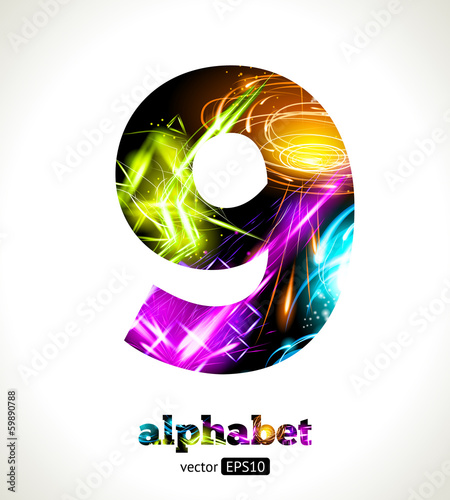 Vector Customizable Light Effect Alphabet