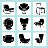 chair set, interior decoration set, furniture icons