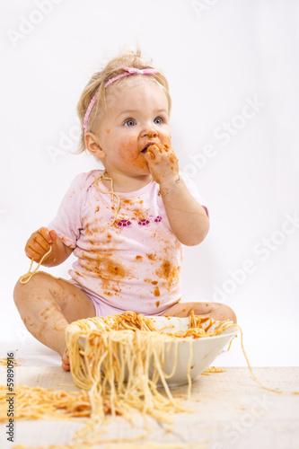 canvas print picture Kleine Dame beim Essen :-))