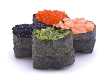 Four Various Gunkan Maki isolated on white