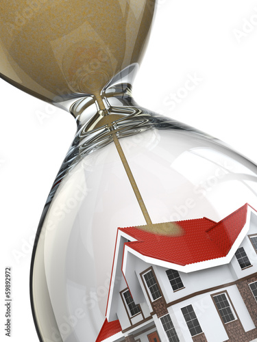 Real estate concept. Hourglass and home.
