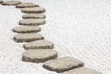Zen stone path in a Japanese Garden - 59893327