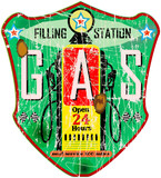 gas station sign, vintage grungy style, vector illustration