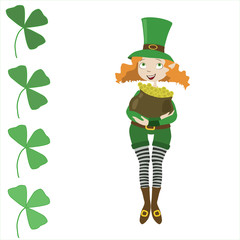 girl leprechaun dressed as St. Patrick with pot and clover
