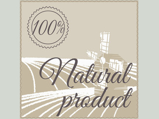 Natural product label, retro design. Vector illustration.