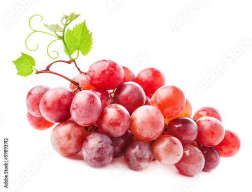 Red grape with water drops, isolated on white