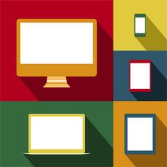 Dispositivos móviles y pantallas en estilo vintage