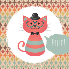 Vector Hipster Cat greeting card design illustration