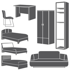 interior design icons, furniture set