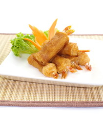 shrimp spring rolls and thai spring rolls