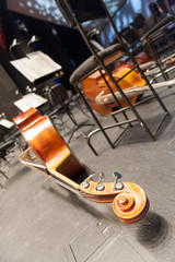 Wooden contrabass on the stage