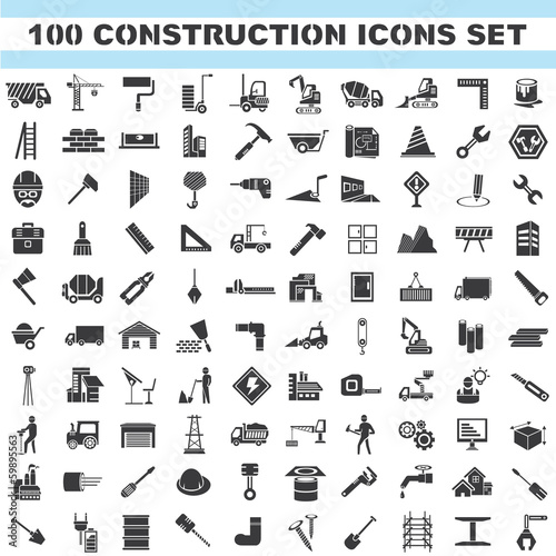 construction icons set, 100 icons, engineering tools icons
