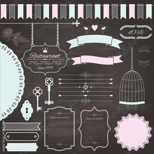 Design elements set on chalkboard background.