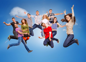 Happy jumping teenagers