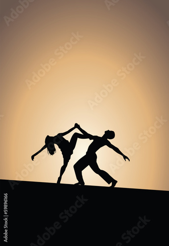 Dancing couple, sunset