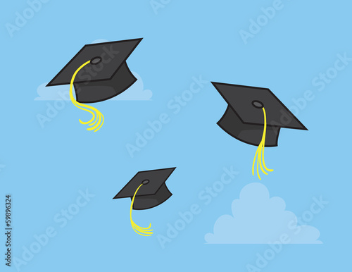 Graduation caps thrown into the sky