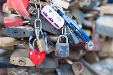 Love locks as a symbol of happy wedding