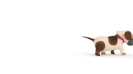 The 3D puppy runs.