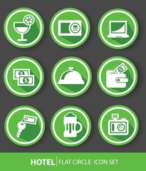 Hotel buttons,Green version,vector