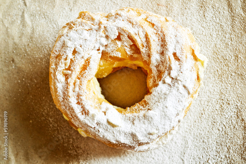Pastry in sugar powder