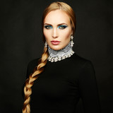 Photo of beautiful woman with magnificent hair. Perfect makeup - 59897187