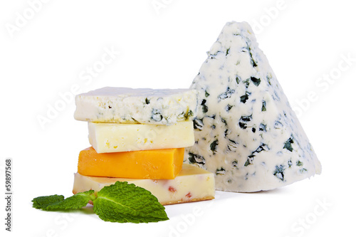 cheese in portions isolated on white background