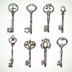Set of vintage keys drawings