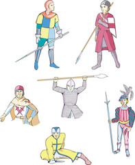 Set of medieval knights and warriors