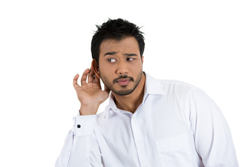 Nosy business man, employee listening to someone's conversation