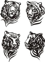 4 tiger heads