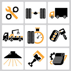 garage icons, auto service icons, car parts