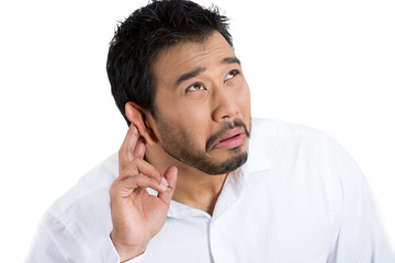 Annoyed man, student, worker having hearing problems