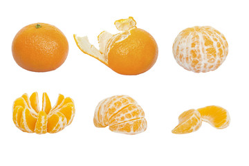 Set of ripe mandarins