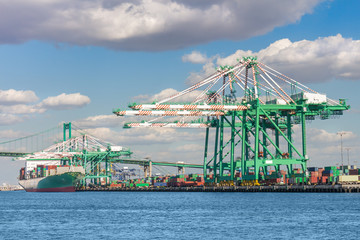 Port of Los Angeles, busy shipping terminal,trade and commerce