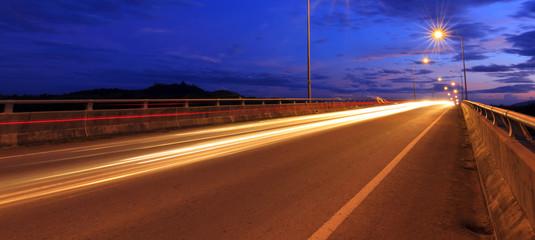 Light trails at blue hour