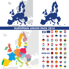 European union map and flags pack, Weltkarte Landkarte