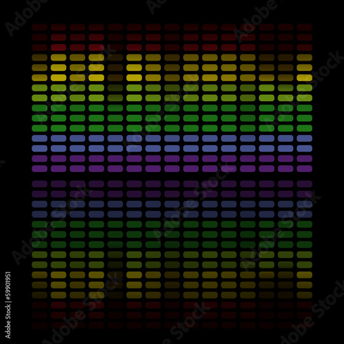 illustration of colorful musical bar showing volume on black