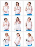 Collage Collection Pregnant Woman listening to music in headphon