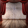 Wood stage background with theatrical curtains - 59902943